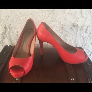 Antonio Melani  burned orange peep toe shoes